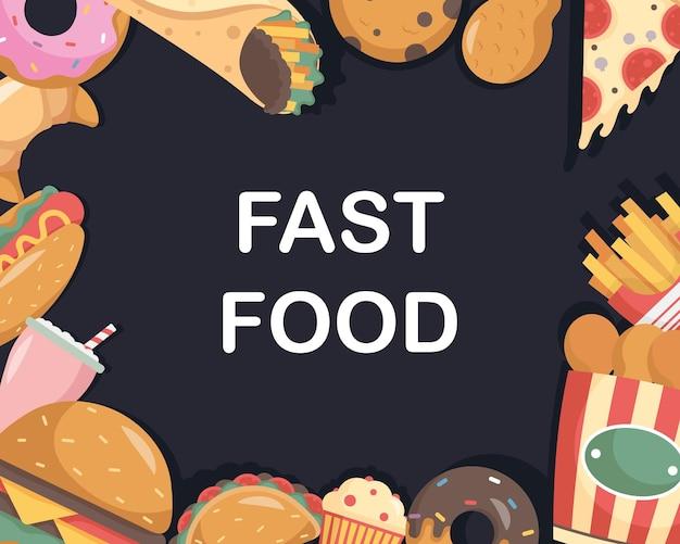 Pakiet fast foodów ułożony wokół napisów