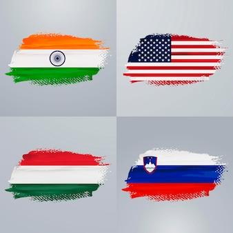 Pakiet flag indii, usa, węgier i słowenii