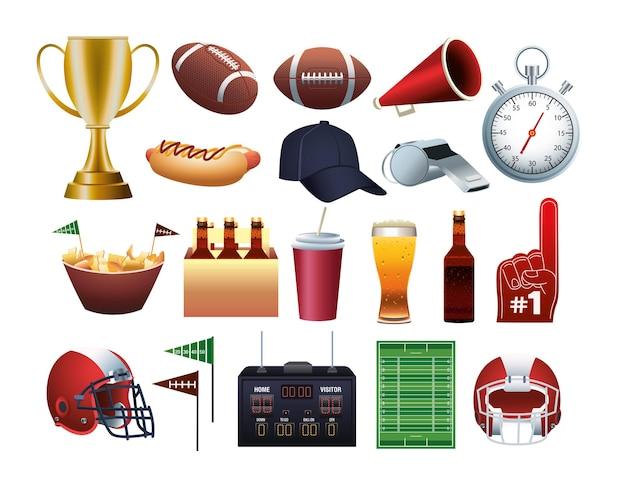 Pakiet futbolu amerykańskiego super bowl zestaw ikon ilustracji