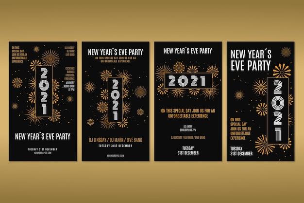 Pakiet historii na instagramie na imprezę noworoczną