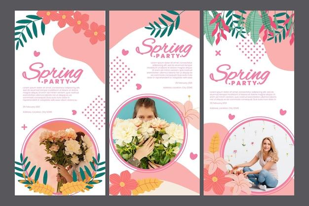 Pakiet historii na instagramie na wiosenne przyjęcie z kobietą i kwiatami