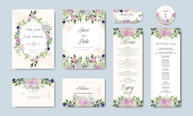 Pakiet i zestaw zaproszenia ślubne w kwiatowy szablon