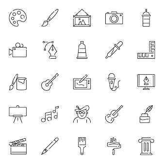Pakiet ikon artysty, z ikoną stylu konturu