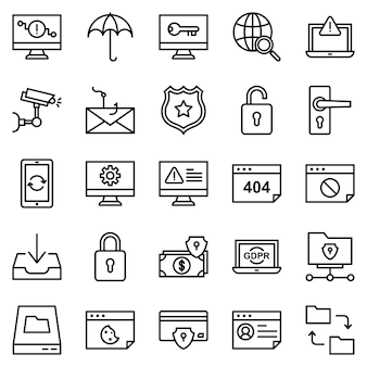 Pakiet ikon bezpieczeństwa ochrony, z ikoną stylu konturu