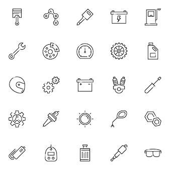 Pakiet ikon części motocyklowych, z ikoną stylu konturu