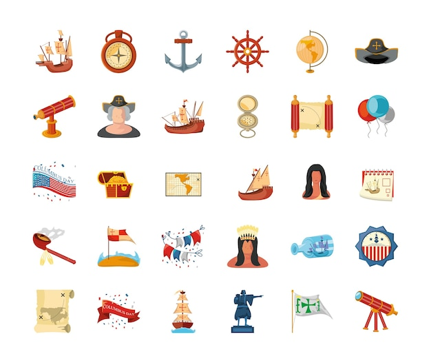 Pakiet ikon dzień kolumba na białym tle projektu