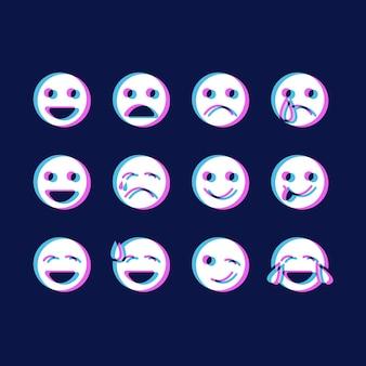 Pakiet ikon emotikonów glitch