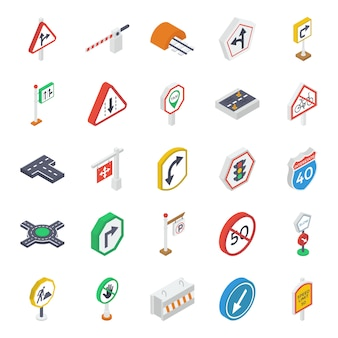 Pakiet ikon izometryczny symboli drogowych