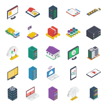 Pakiet ikon izometryczny technologii chmury