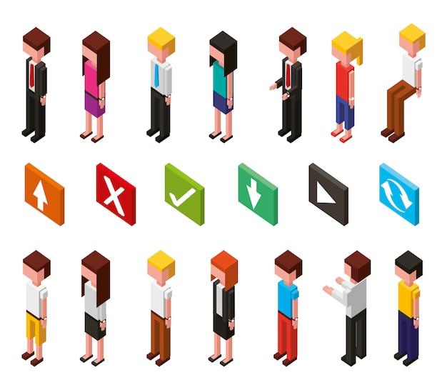 Pakiet ikon izometrycznych awatarów dla centrum danych i użytkowników