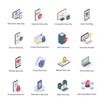 Pakiet ikon izometrycznych systemu bezpieczeństwa