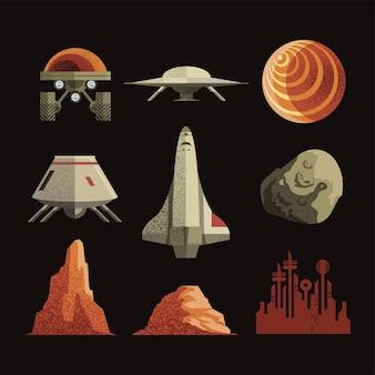 Pakiet ikon kosmosu i science-fiction przedstawiający kosmos wszechświata i futurystyczny motyw