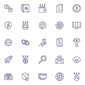 Pakiet ikon łańcucha bloków, ze stylem ikony konspektu