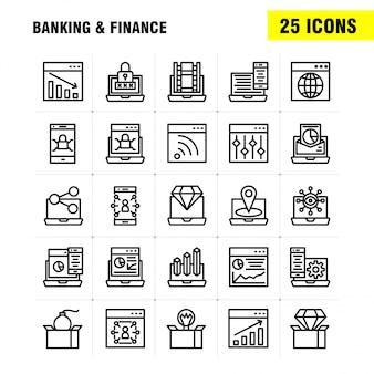 Pakiet ikon linii bankowej dla projektantów i programistów. ikony banku, bankowość, internet, bankowość internetowa, laptop, bezpieczeństwo, blokada,