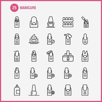 Pakiet ikon linii do manicure