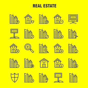 Pakiet ikon linii nieruchomości