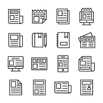 Pakiet ikon linii papieru mediów