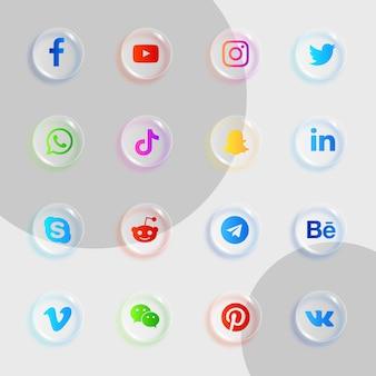 Pakiet ikon mediów społecznościowych z błyszczącym, przezroczystym efektem