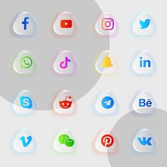 Pakiet ikon mediów społecznościowych z efektem przezroczystego szkła