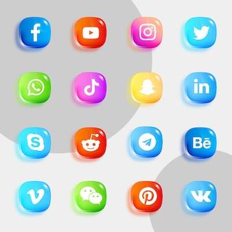 Pakiet ikon mediów społecznościowych z miękkimi błyszczącymi ikonami