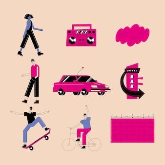 Pakiet ikon miejskich i miejskich o nowoczesnym i stylowym motywie