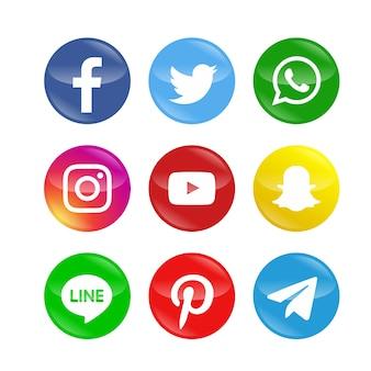 Pakiet ikon nowoczesnych sieci społecznościowych