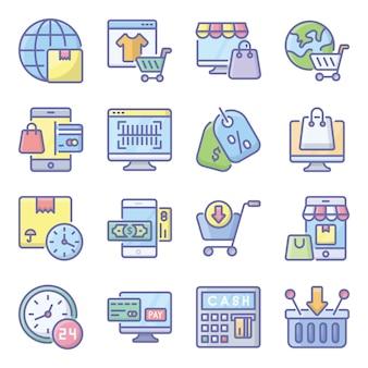 Pakiet ikon płaski na zakupy mobilne