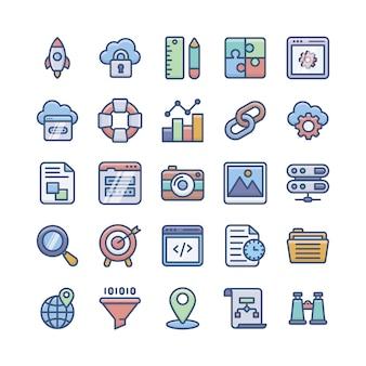 Pakiet ikon płaski rozwoju sieci