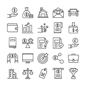 Pakiet ikon pożyczek, z ikoną stylu konturu