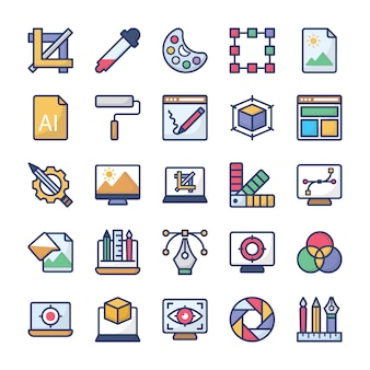 Pakiet ikon projektowania graficznego