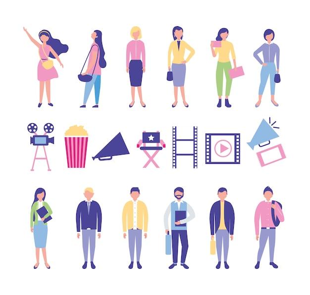 Pakiet ikon rozrywki ludzi i kina