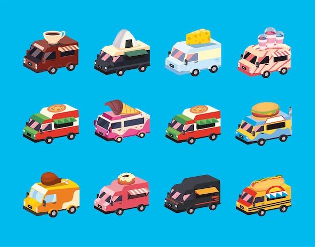Pakiet ikon samochodów ciężarowych z jedzeniem
