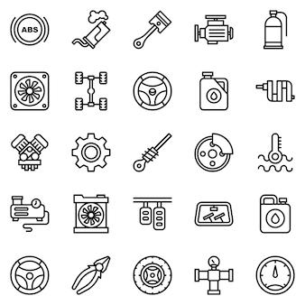 Pakiet ikon silnika samochodu, ze stylem ikony konspektu