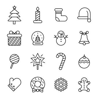 Pakiet ikon świątecznych, zarys ikona stylu