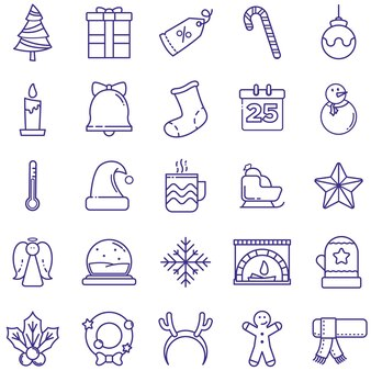 Pakiet ikon wesołych świąt