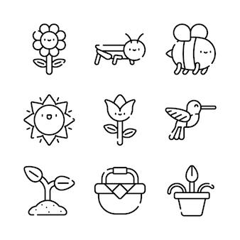 Pakiet ikon wiosny. kolekcja symboli na białym tle wiosna. element graficzny ikony