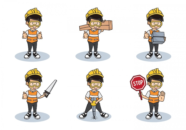 Pakiet ilustracja kolekcja pracowników budowlanych lub charakter człowieka bezpieczeństwa zawodowego z różnymi czynnościami.