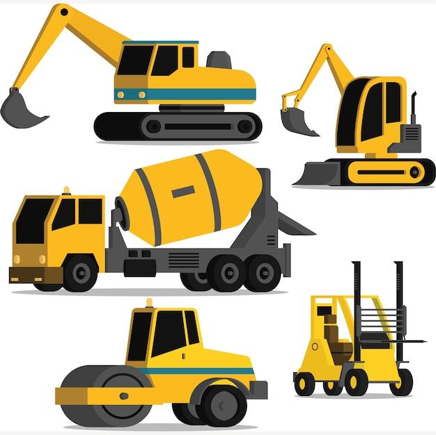 Pakiet ilustracji ciężkich pojazdów budowlanych