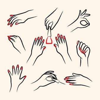 Pakiet ilustracji dłoni do manicure
