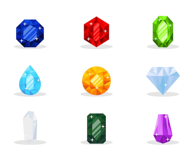 Pakiet ilustracji drogocennych kamieni szlachetnych, luksusowe klejnoty, biżuteria glamour, błyszczący skarb, zestaw ozdobnych kamieni mineralnych, bogactwo, drogi prezent, szafir, rubin, szmaragd, topaz i diament