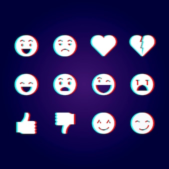 Pakiet ilustracji emoji glitch