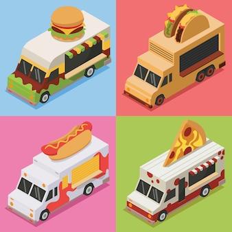 Pakiet ilustracji izometrycznych food truck