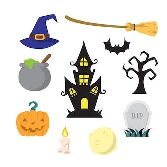 Pakiet Ilustracji Na Halloween Premium Wektorów