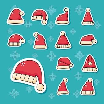 Pakiet ilustracji naklejek świątecznych czerwonych czapek świętego mikołaja