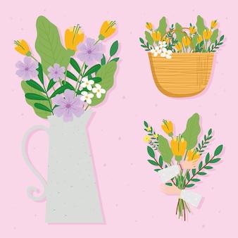 Pakiet ilustracji pięknych dekoracji kwiatowych