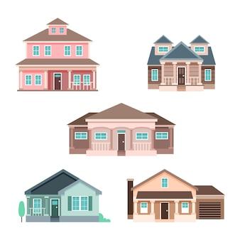 Pakiet ilustracji płaska konstrukcja domów