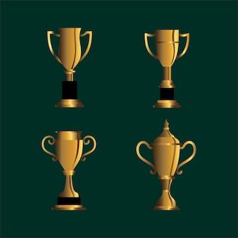 Pakiet ilustracji wektorowych złote trofeum