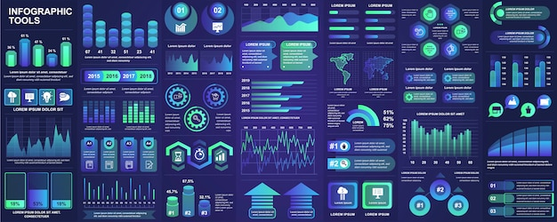 Pakiet infographic elementów interfejsu użytkownika, interfejsu użytkownika, elementów zestawu z wykresami, diagramami, przepływem pracy, schematem blokowym, osią czasu, statystykami online, szablonem elementów ikon marketingu. zestaw infografiki.