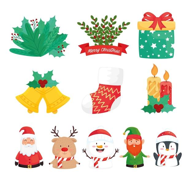 Pakiet jedenastu wesołych świąt bożego narodzenia zestaw ikon ilustracja projekt