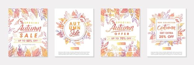 Pakiet jesiennych banerów promocyjnych z jesiennymi liśćmi i kwiatowymi elementami w jesiennych kolorach. szablony sprzedaży idealne do wydruków, ulotek, banerów, promocji. koncepcja biznesowa. wektorowe jesienne promocje.